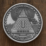 1 Fuck/0 Fucks Decision Maker coin - Pyramid Coin, Middle Finger Coin - Silver