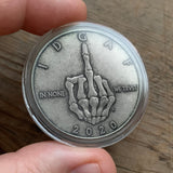 Silver Skeleton Middle Finger IDGAF coin in Capsule