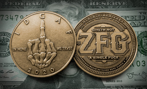 Skeleton Middle Finger - IDGAF Coins - Bronze