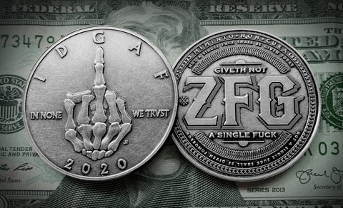 Skeleton Middle Finger - IDGAF Coins - Silver