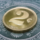 2¢ brass coin, 2 cents coin, ZFG coin, zero fucks coin