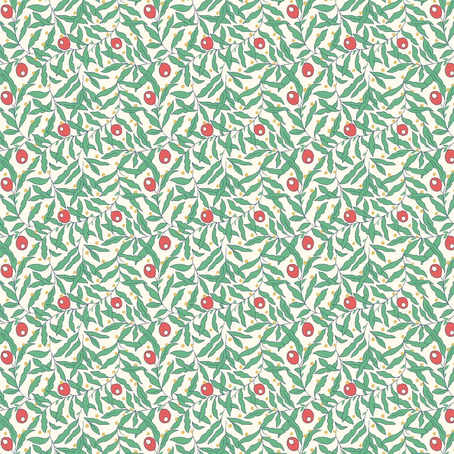 A simple but classic design of small scattered berries and dense leaves, reminiscent of a snowy winter scene. The holiday Berries pattern was inspired by a Liberty archive design originally created in 1979.