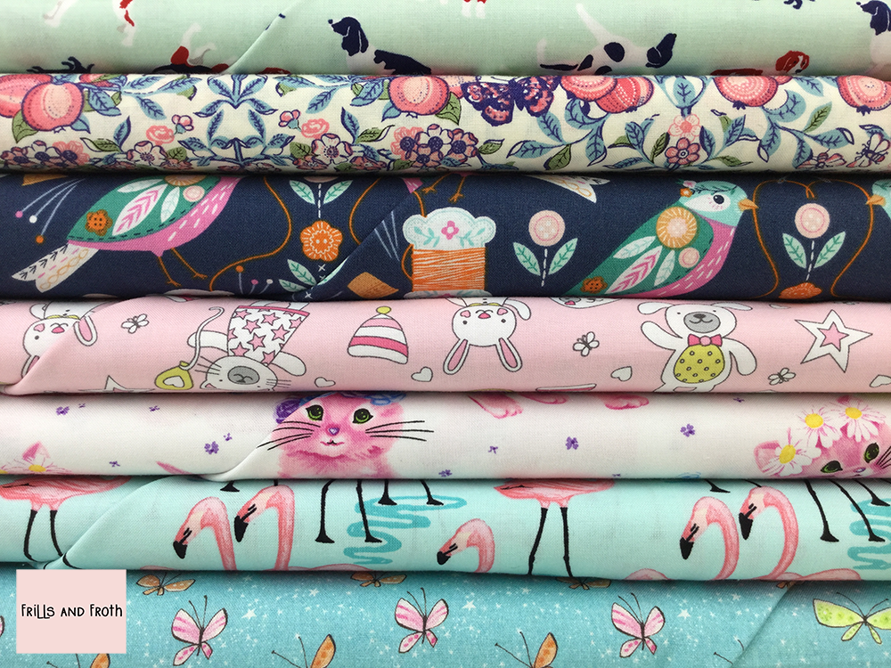 Animal Fabric collection 100% cotton quilting weight fabric. Sold by the metre and half metre. From UK online fabric store Frills and Froth.