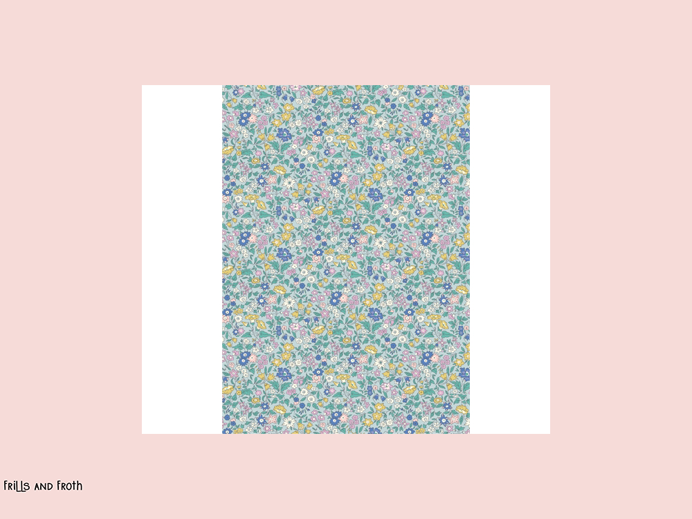 Liberty fabric 'Ava May' quilting fabric Liberty 'Ava May' fabric from the 'Deco Dance' collection features a multi coloured floral design.