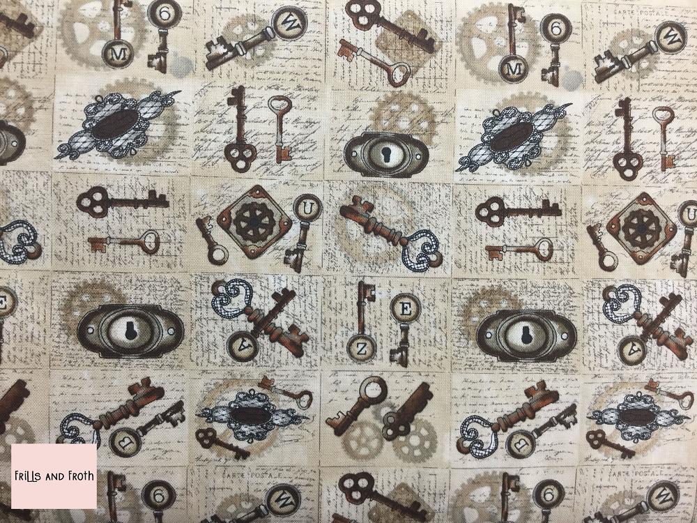 Blank Quilting 'Unknown Voyage' 'Keys & Locks' Quilting fabric