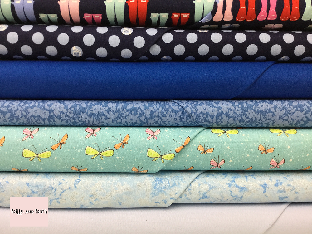Blue Quilting Fabric Collection 100% cotton quilting weight fabric. Sold by the metre and half metre. From UK online fabric store Frills and Froth.