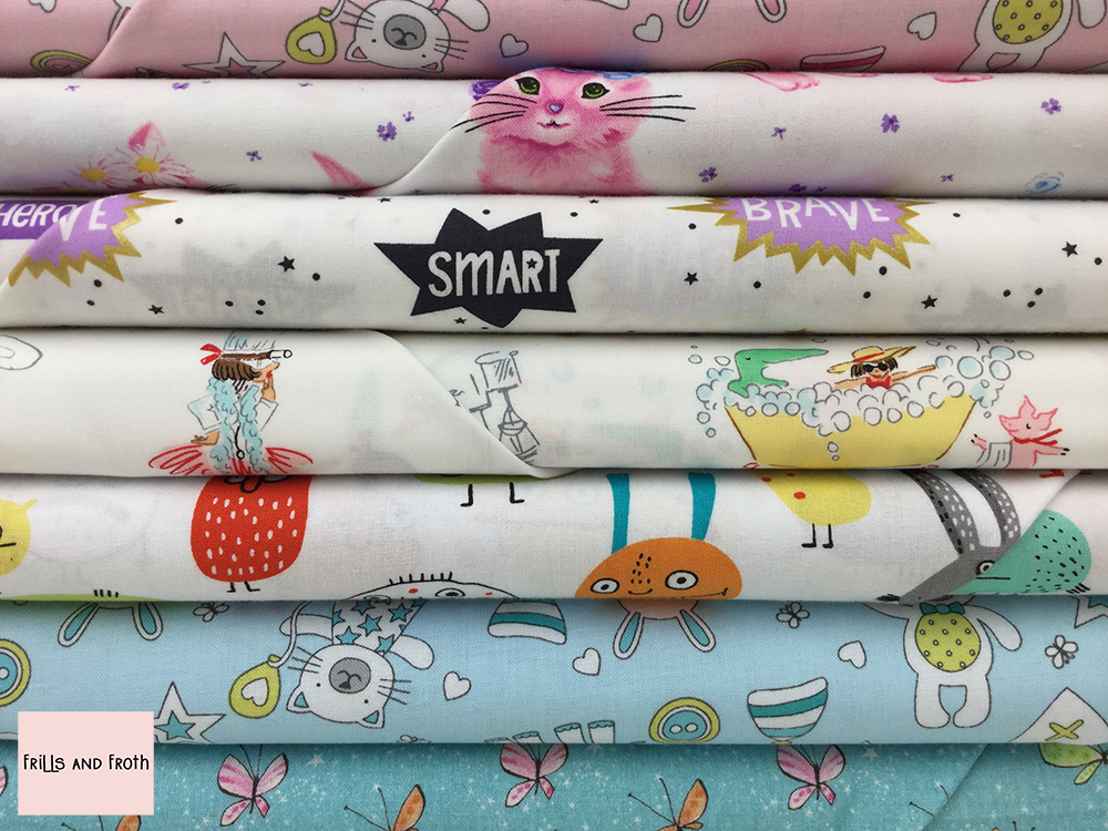Children's Quilting Fabric Collection 100% cotton quilting weight fabric. Sold by the metre and half metre. From UK online fabric store Frills and Froth.
