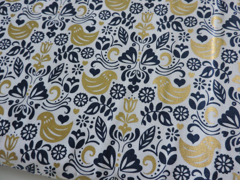Michael Miller 'Bird Buddies' navy. Such a cute design! gold metallic birds and flowers mixed in with navy on a white background. Also available in a pink and gold colourway. 100% cotton fabric 112 cm wide Quilting/medium weight. Sold by the half metre and metre. sold by UK Michael Miller fabric stockist Frills and Froth. seller of designer fabric from Michael Miller, Riley Blake and Liberty