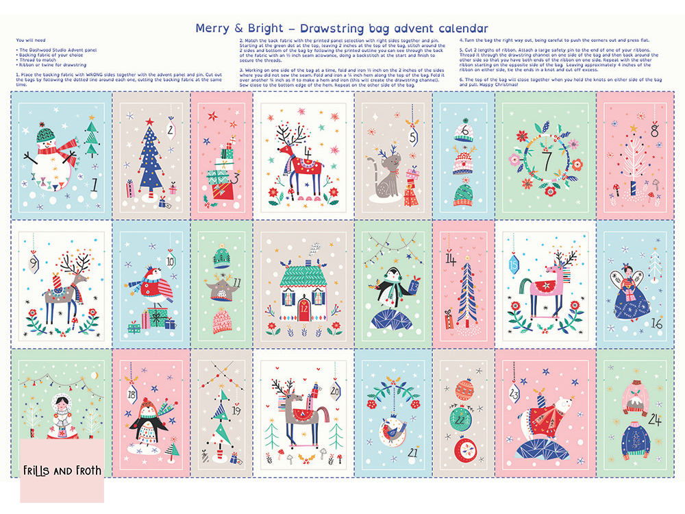 Dashwood Studio 'Merry and Bright' advent bag panel