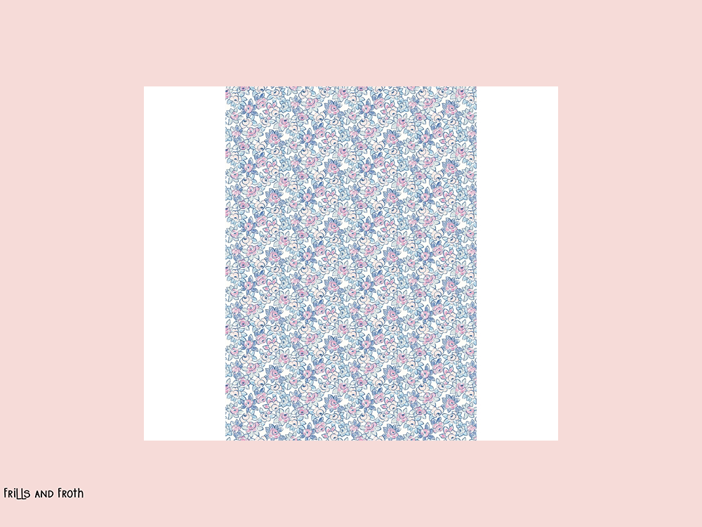 Liberty fabric 'Deco Rose' quilting fabric. Liberty 'Deco Rose' fabric from the 'Deco Dance' collection features a ditsy pink and blue floral design.