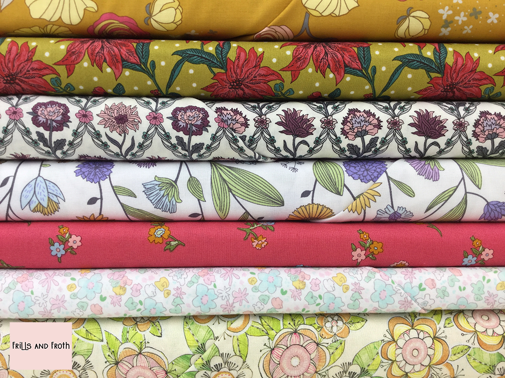 Floral quilting fabric collection 100% cotton quilting weight fabric. Sold by the metre and half metre. From UK online fabric store Frills and Froth.