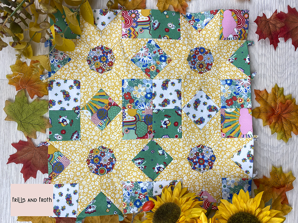 Forever Summer EPP Paper Pattern Inspired by sunflowers blowing in the breeze.  Pattern is full step by step instructions complete with photos at each stage. Also included in the pattern are full instructions on how to sew and base each shape required for this block.