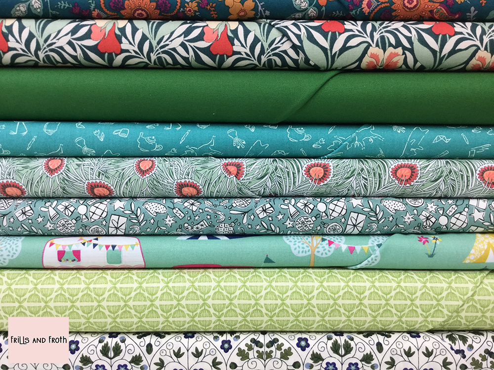 Green Quilting Fabric Collection 100% cotton quilting weight fabric. Sold by the metre and half metre. From UK online fabric store Frills and Froth.
