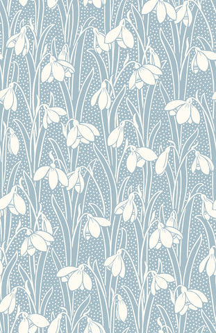 Hesketh fabric, a floral snowdrop on pale blue fabric background, part of the 'Hesketh house' fabric collection from Liberty of London fabrics. a supperior quality quilting weight cotton fabric suitable for all your sewing projects from dress making to quilting. This fabric is sold by the metre and fat quarter by official Liberty fabric stockist and fabric seller in the UK frills and froth