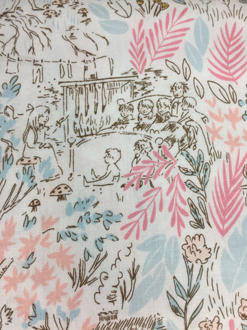 Michael Miller 'The Little House' fabric in bloom, part of the Peter pan collection designed by Sarah Jane.. See the adventures of the lost boys in this delightful fabric detailed in pink and blue. Co-ordinates with the other fabrics in this collection 'Jolly Roger', 'Tink' and 'Peter and Wendy' Suitable for making dresses, apparel, bunting, cushions, quilts etc.  100% cotton fabric 112 cm wide Quilting/medium weight. Sold by the half metre and metre. sold by UK Michael Miller fabric stockist Frills and Froth. seller of designer fabric from Michael Miller, Riley Blake and Liberty