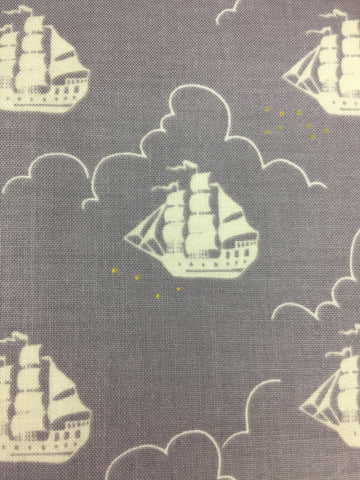 Michael Miller 'Jolly Roger' fabric in fog, part of the Peter pan collection designed by Sarah Jane.Suitable for making dresses, apparel, bunting, cushions, quilts etc.  100% cotton fabric 112 cm wide Quilting/medium weight. Sold by the half metre and metre.sold by UK Michael Miller fabric stockist Frills and Froth. seller of designer fabric from Michael Miller, Riley Blake and Liberty