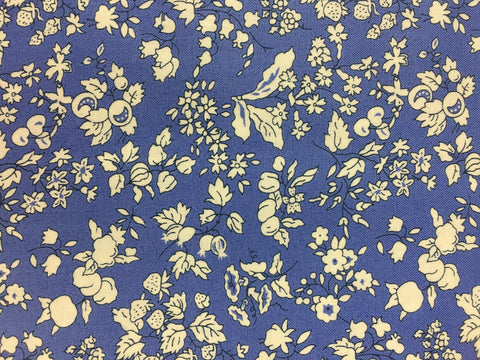 Liberty fabric, fruit silhouette in blue from the fabric collection the orchard garden, quilting weight cotton fabric, sold by frills and froth