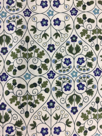 Liberty fabric, garden gates in a blue colourway from the Liberty fabric collection 'the orchard garden', quilting weight cotton fabric sold by the metre and fat quarter by frills and froth UK