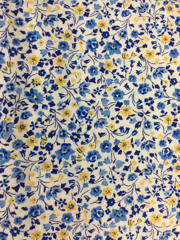 Primula dawn fabric in blue, Liberty fabric from the fabric collection 'the orchard garden'. Quilting weight cotton fabric sold by the metre and fat quarter by frills and froth UK.