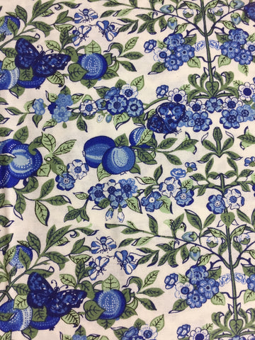 Liberty fabric sold by the fat quarter and metre by frills and froth uk. cotton fabric from the Liberty fabric collection 'the orchard garden'