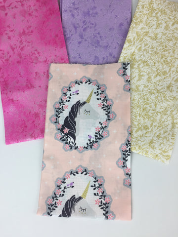 Michael Miller unicorn fabric, believe, fairy frost fabric, fat quarter  bundle sold by Frills and froth UK