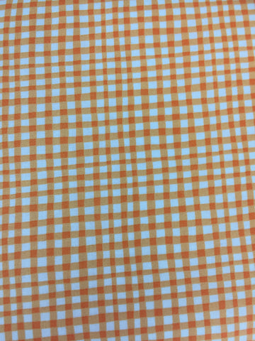 Michael Miller 'Gingham Play' in pumpkin.  A gorgeous quality gingham, in pumpkin colourway. This would look fabulous as clothing, aprons, bunting and more!  100% cotton fabric 112 cm wide Quilting/medium weight. Sold by the half metre and metre. sold by UK Michael Miller fabric stockist Frills and Froth. seller of designer fabric from Michael Miller, Riley Blake and Liberty