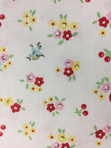 Riley Blake cotton fabric, roses on bluebird fabric, cotton medium weight material featuring flowers and bluebirds, childrens fabric sold by the metre and fat quarter by UK fabric seller frills and froth.