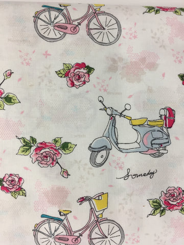Riley Blake 'Someday' fabric, this super cute medium weight cotton material featuring roses bicycles and mopeds on a pink and white background.  Not just for quilting, this fabric is also suitable for dress making and home decor!    100% cotton fabric  112 cm wide  Quilting/medium weight  Sold by the half metre and metre.sold by UK Riley Blake fabric stockist Frills and Froth. seller of designer fabric from Riley Blake