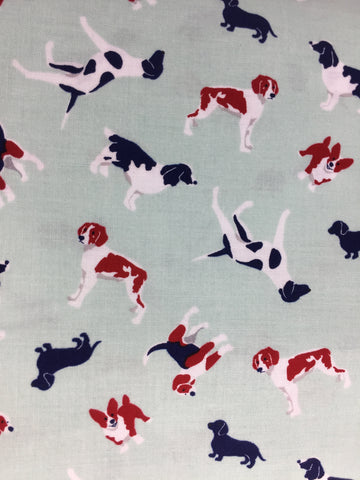 Riley Blake 'Fox Farm' dogs fabric.This fabric design features different breads of dogs on a pale blue background. If your looking for a coordinate why not take a look at my other two fabrics from the 'Fox Farm' Wellington boots and Fox on dot's  Not just for quilting, this fabric is also suitable for dress making and home decor!    100% cotton fabric  112 cm wide  Quilting/medium weight  Sold by the half metre and metre. sold by UK Riley Blake fabric stockist Frills and Froth. seller of designer fabric from Riley Blake