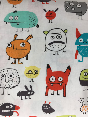 Michael Miller 'I want a Monster' Fabric. Loads of little monsters in various colours with all sorts of different features. Monsters are all on a 100% quilting weight white cotton. Co-ordinates with 'Eye's see you' Suitable for making dresses, apparel, bunting, cushions, quilts etc.  100% cotton fabric 112 cm wide Quilting/medium weight. Sold by the half metre and metre. sold by UK Michael Miller fabric stockist Frills and Froth. seller of designer fabric from Michael Miller