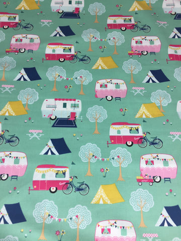 Riley Blake 'I'd Rather be Glamping' fabric, cute medium weight cotton material featuring caravans and tents on a mint background. Coordinates with Riley Blake 'I'd Rather be Glamping panel. Not just for quilting, this fabric is also suitable for dress making and home decor!    100% cotton fabric  112 cm wide  Quilting/medium weight  Sold by the half metre and metre.sold by UK Riley Blake fabric stockist Frills and Froth. seller of designer fabric from Riley Blake