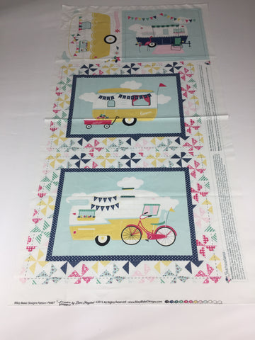 Riley Blake 'I'd Rather be Glamping' panel. Medium weight cotton material featuring caravans and tents. This panel includes the instructions to make a cushion, place mats and a hot pad. Coordinates with Riley Blake 'I'd Rather be Glamping' fabric.. Not just for quilting, this fabric is also suitable for dress making and home decor!    100% cotton fabric  112 cm wide by 60 cm long  Quilting/medium weight. sold by UK Riley Blake fabric stockist Frills and Froth. seller of designer fabric from Riley Blake
