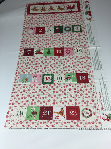 Riley Blake 'Merry and Bright' advent panel. Medium weight cotton material featuring candy canes, reindeer's, wreaths and all manor of festive favourites. This panel includes the instructions to make an pocketed advent panel you can use year after year.100% cotton fabric  112 cm wide by 60 cm long  Quilting/medium weight. sold by UK Riley Blake fabric stockist Frills and Froth. seller of designer fabric from Riley Blake