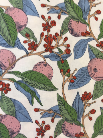 Liberty 'Conservatory Fruit's' fabric. A 100% cotton fabric in quilting weight. This Liberty 'Conservatory Fruit's' fabric from The Summer House collection features a bold fruit and vine design in pink with blues and reds on a white background. Not just for quilting, this fabric is also suitable for dressmaking and home decor.sold by UK Liberty of London fabric stockist Frills and Froth. seller of designer fabric from Liberty, Michael Miller and Riley Blake