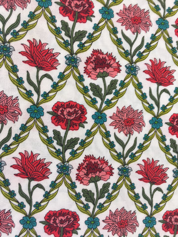 Liberty 'Kew Trellis' fabric. A 100% cotton fabric in quilting weight. This Liberty 'Kew Trellis' fabric from The Summer House collection features a elegant floral trellis pattern in red and green on a cream background. Not just for quilting, this fabric is also suitable for dressmaking and home decor.   100% cotton fabric 112 cm wide Quilting/medium weight. sold by UK Liberty of London fabric stockist Frills and Froth. seller of designer fabric from Liberty, Michael Miller and Riley Blake