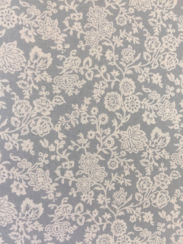 Liberty 'Hampton Vines' fabric. A 100% cotton fabric in quilting weight. This Liberty 'Hampton Vines'  fabric from The Summer House collection features a beautiful floral and vine pattern on a grey background. Not just for quilting, this fabric is also suitable for dressmaking and home decor.sold by UK Liberty of London fabric stockist Frills and Froth. seller of designer fabric from Liberty, Michael Miller and Riley Blake