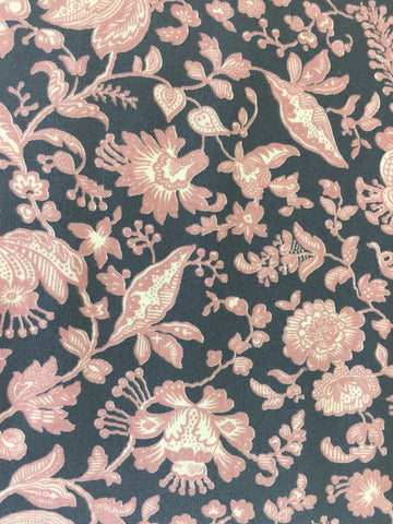 Liberty 'Victoria Floral' fabric. A 100% cotton fabric in quilting weight. This Liberty 'Victoria Floral'  fabric from The Summer House collection features a beautiful pink floral pattern on a grey background. Not just for quilting, this fabric is also suitable for dressmaking and home decor.sold by UK Liberty of London fabric stockist Frills and Froth. seller of designer fabric from Liberty, Michael Miller and Riley Blake