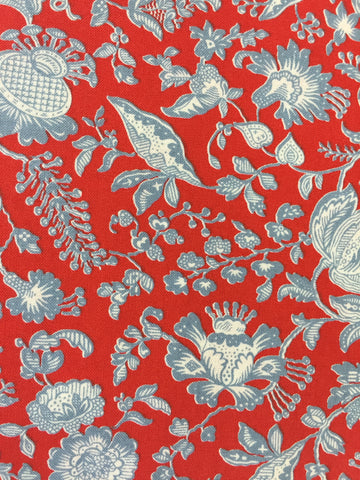 Liberty 'Victoria Floral' fabric. A 100% cotton fabric in quilting weight. This Liberty 'Victoria Floral'  fabric from The Summer House collection features a beautiful floral pattern on a red background. Not just for quilting, this fabric is also suitable for dressmaking and home decor.sold by UK Liberty of London fabric stockist Frills and Froth. seller of designer fabric from Liberty, Michael Miller and Riley Blake