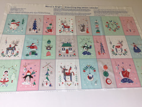 Dashwood Studio 'Merry and Bright' advent bag panel. Medium weight cotton material featuring reindeer, penguins, trees and all manner of festive favourites. This panel includes the instructions to make advent bags sold by UK Dashwood Studio stockist Frills and Froth. seller of designer fabric from Dashwood Studio