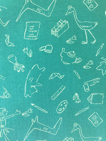 Michael Miller 'Lola Dutch and friends' green Designed by Sarah Jane for Michael Miller Fabrics this design features white silhouettes of Lola and all her friends on a green background. 100% cotton fabric 112 cm wide Quilting/medium weight. Sold by the half metre and metre. sold by UK Michael Miller fabric stockist Frills and Froth. seller of designer fabric from Michael Miller