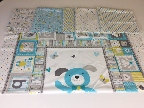 Michael Miller 'Tiny Tots' quilting bundle in blue. A quilting bundle of the Michael Miller 'Tiny Tots' collection this 100% cotton fabric bundle. sold by UK Michael Miller fabric stockist Frills and Froth. seller of designer fabric from Michael Miller,