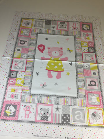 Michael Miller 'Tiny Tots' fabric panel in pink. Part of the Michael Miller 'Tiny Tots' collection this 100% cotton fabric panel features a large dog in the centre of the panel surrounded by butterflies in pink and grey shades with yellow smaller panels surround the main picture with stars dots and other animals. sold by UK Michael Miller fabric stockist Frills and Froth. seller of designer fabric from Michael Miller,