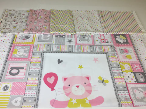 Michael Miller 'Tiny Tots' quilting bundle in pink. A quilting bundle of the Michael Miller 'Tiny Tots' collection this 100% cotton fabric bundle. sold by UK Michael Miller fabric stockist Frills and Froth. seller of designer fabric from Michael Miller,