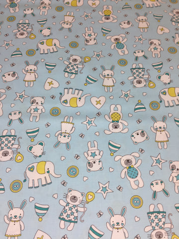 Michael Miller 'Tiny Tots' fabric 'Munchkins' in blue on blue. Part of the Michael Miller 'Tiny Tots' collection this 100% cotton fabric features cute cats, dogs,bears and more in blue and grey shades with yellow on a blue background. sold by UK Michael Miller fabric stockist Frills and Froth. seller of designer fabric from Michael Miller,