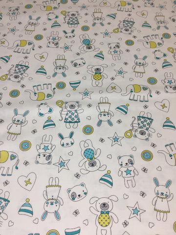 Michael Miller 'Tiny Tots' fabric 'Munchkins' in blue on white. Part of the Michael Miller 'Tiny Tots' collection this 100% cotton fabric features cute cats, dogs,bears and more in blue and grey shades with yellow on a white background. sold by UK Michael Miller fabric stockist Frills and Froth. seller of designer fabric from Michael Miller,