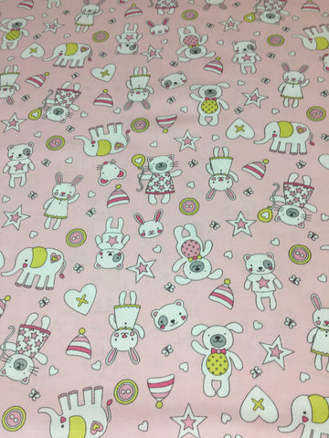 Michael Miller 'Tiny Tots' fabric 'Munchkins' in pink on pink. Part of the Michael Miller 'Tiny Tots' collection this 100% cotton fabric features cute cats, dogs,bears and more in pink and grey shades with yellow on a pink background. sold by UK Michael Miller fabric stockist Frills and Froth. seller of designer fabric from Michael Miller,