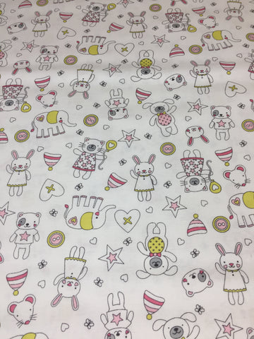 Michael Miller 'Tiny Tots' fabric 'Munchkins' in pink on white. Part of the Michael Miller 'Tiny Tots' collection this 100% cotton fabric features cute cats, dogs,bears and more in pink and grey shades with yellow on a white background. sold by UK Michael Miller fabric stockist Frills and Froth. seller of designer fabric from Michael Miller,