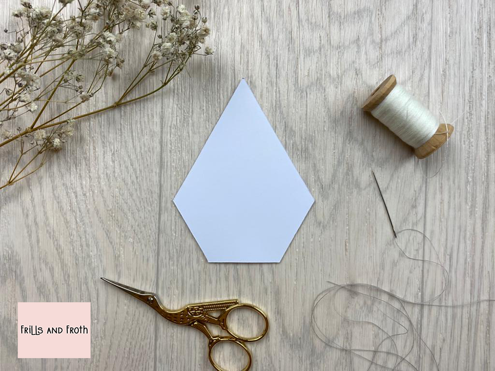 English Paper Piecing Jewel Papers Five sided Jewel paper shape for EPP Our Jewel English paper piecing (or EPP for short) papers are made out of thin flexible card, mechanically cut in house for accuracy.