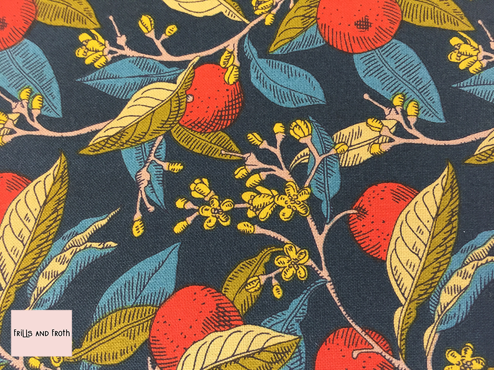 Liberty fabric 'Conservatory Fruit's' in red quilting fabric