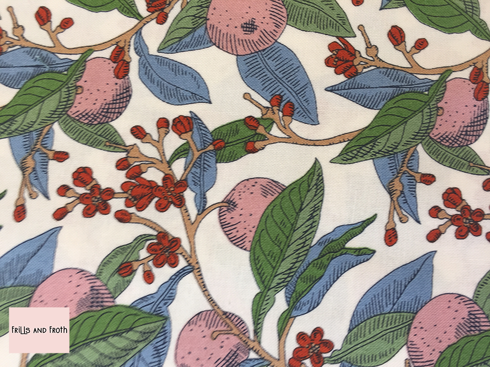 Liberty fabric 'Conservatory Fruit's' in rose quilting fabric